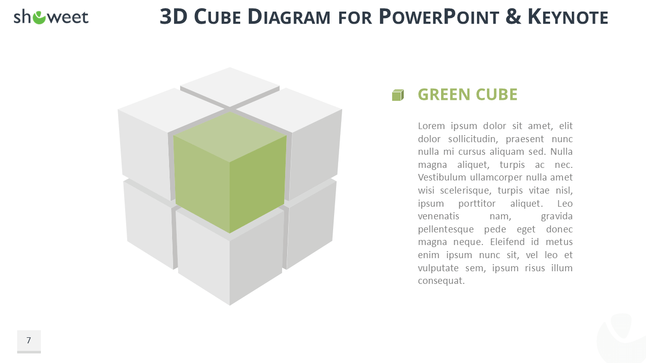 hight resolution of 3d cube diagram for powerpoint and keynote green cube widescreen