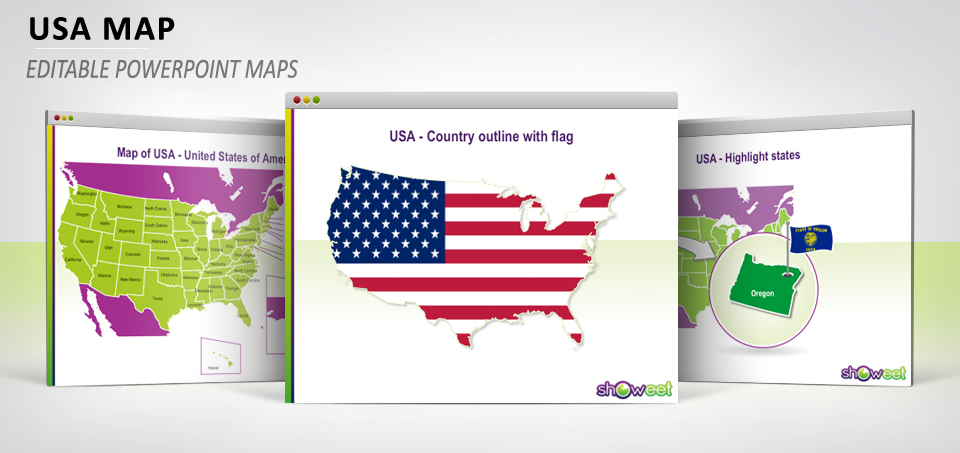 Insert a process template from powerpoint's smartart tools. Hi Def Editable Powerpoint Map Of Usa Free Map Showeet