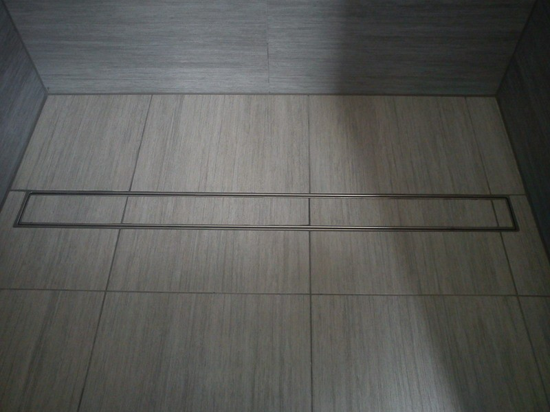 Tile insert linear shower drains with 900mm flange