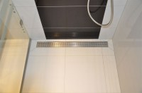 Channel shower drain with grate and 1000mm flange