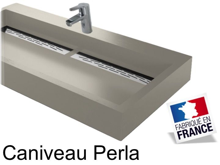Vanity Hanging Or To Put Width 50 X 100 Cm In Resin Channel Double Vasque Suspendue Ou A Poser Largeur 50 X 90 Cm En Resine Caniveau Anthracite