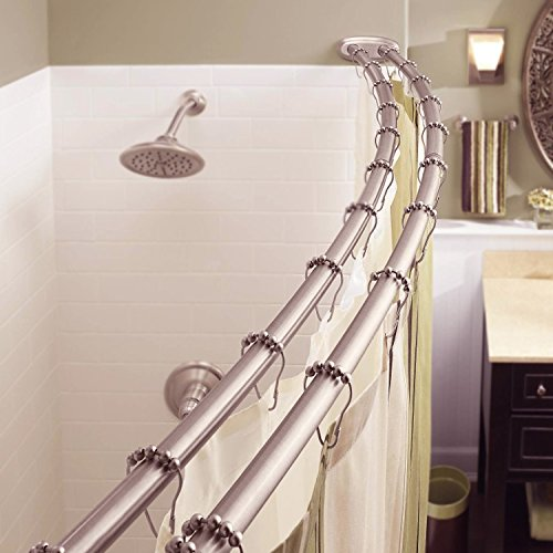 49 inches Curved shower rod – Aluminum Adjustable 29 inches Hardware included SILVER Brand New