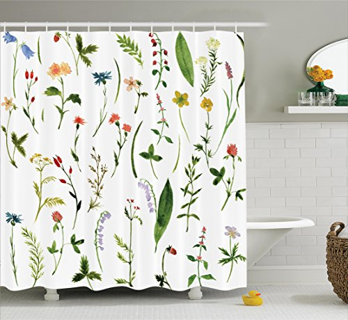 Watercolor Flower Decor Shower Curtain By Ambesonne Set Of Different Kind Flowers And Herbs Weeds Plants Petite Nature Element Print Fabric Bathroom