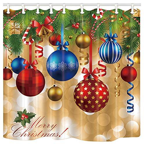 Christmas Knit Pattern Shower Curtain Set Bathroom Fabric Bath Curtains Hooks