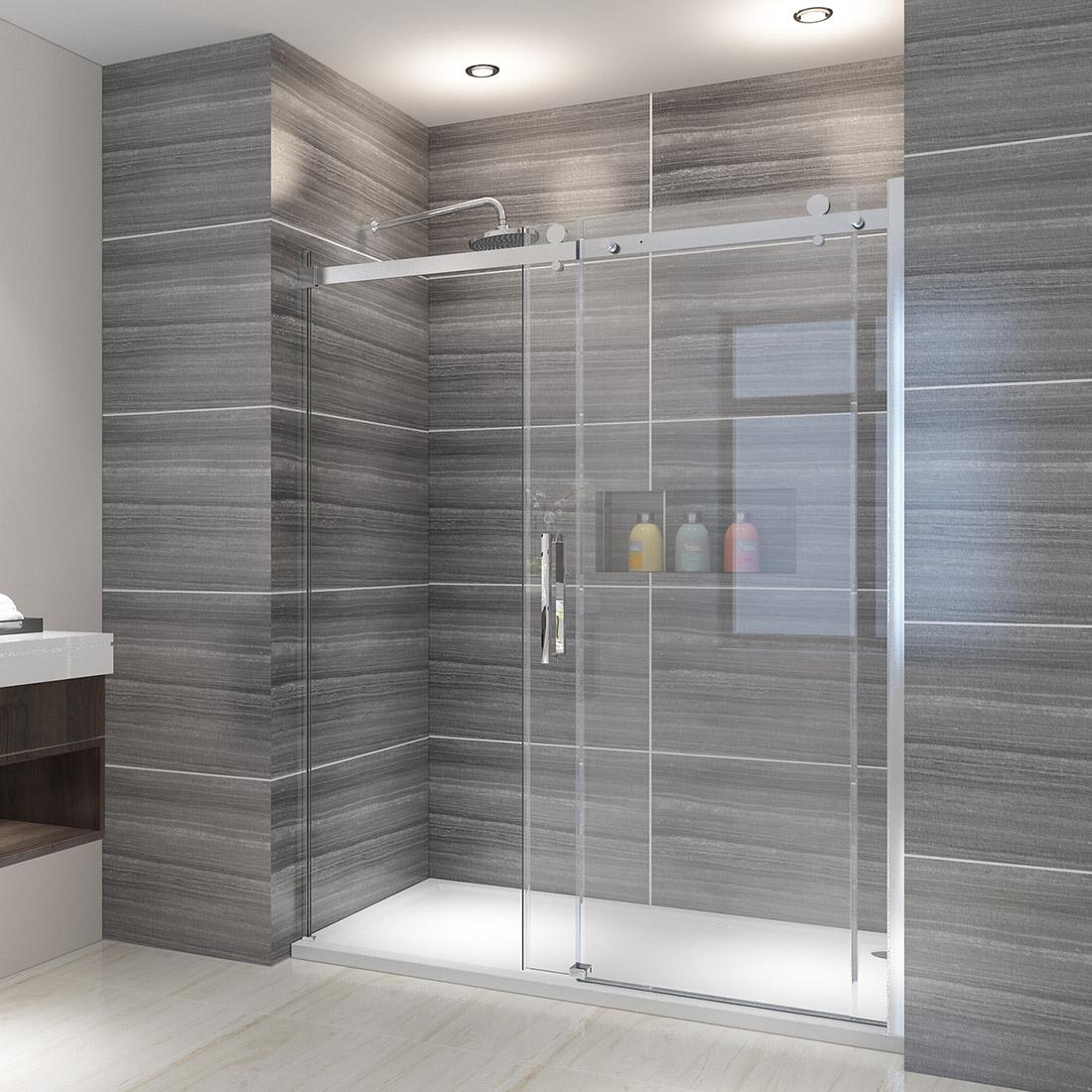 Details About Elegant Showers Semi Frameless Sliding 5 16 Glass Shower Doors 58 5 60 W Chrome
