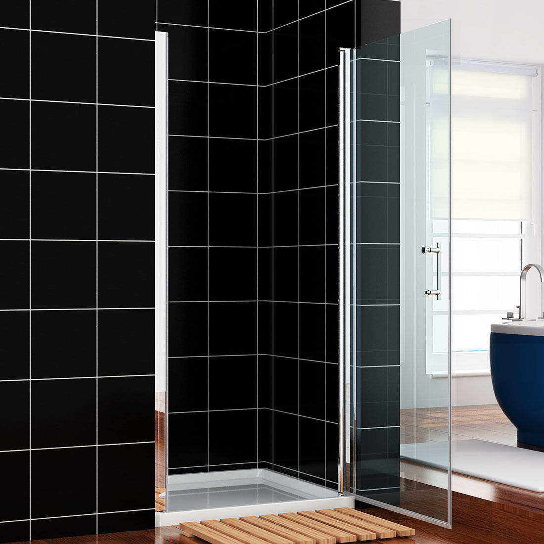 Details About Sunny Shower One Panel Semi Frameless Pivot Shower Door 30 In Clear Glass Chrome