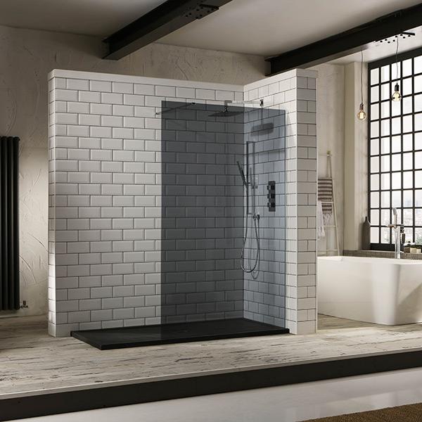 Aquaglass 10mm Tinted Black Glass WalkIn Shower