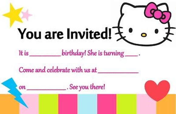 birthday party template hello kitty