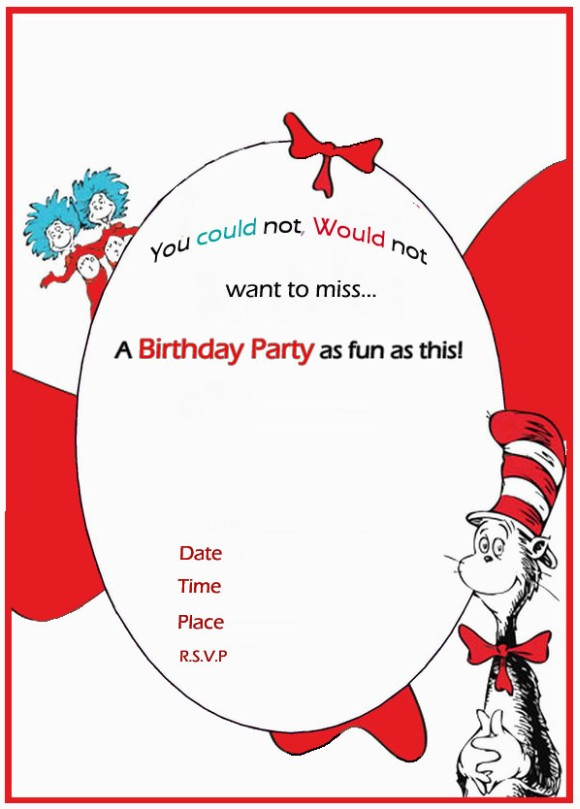 dr seuss birthday invitation free