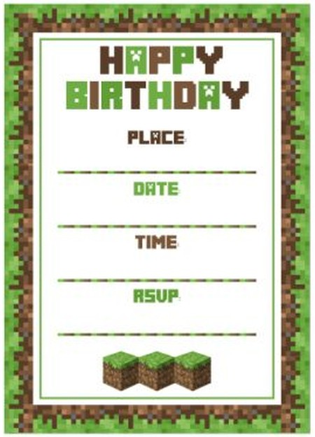 free minecraft party invitation template