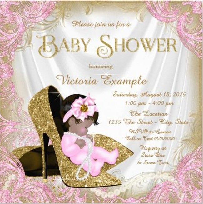 Glitter Baby Shower Invitation