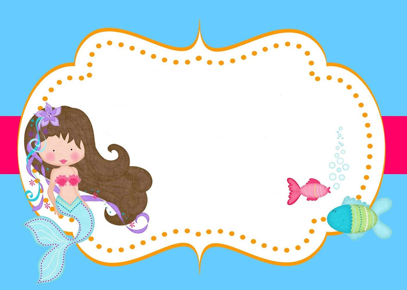 Little Mermaid Free Printable Invitation Templates  Invitations Online