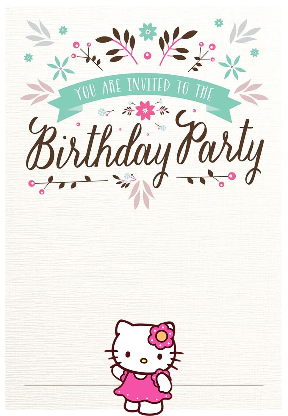 free hello kitty birthday party invitations templates