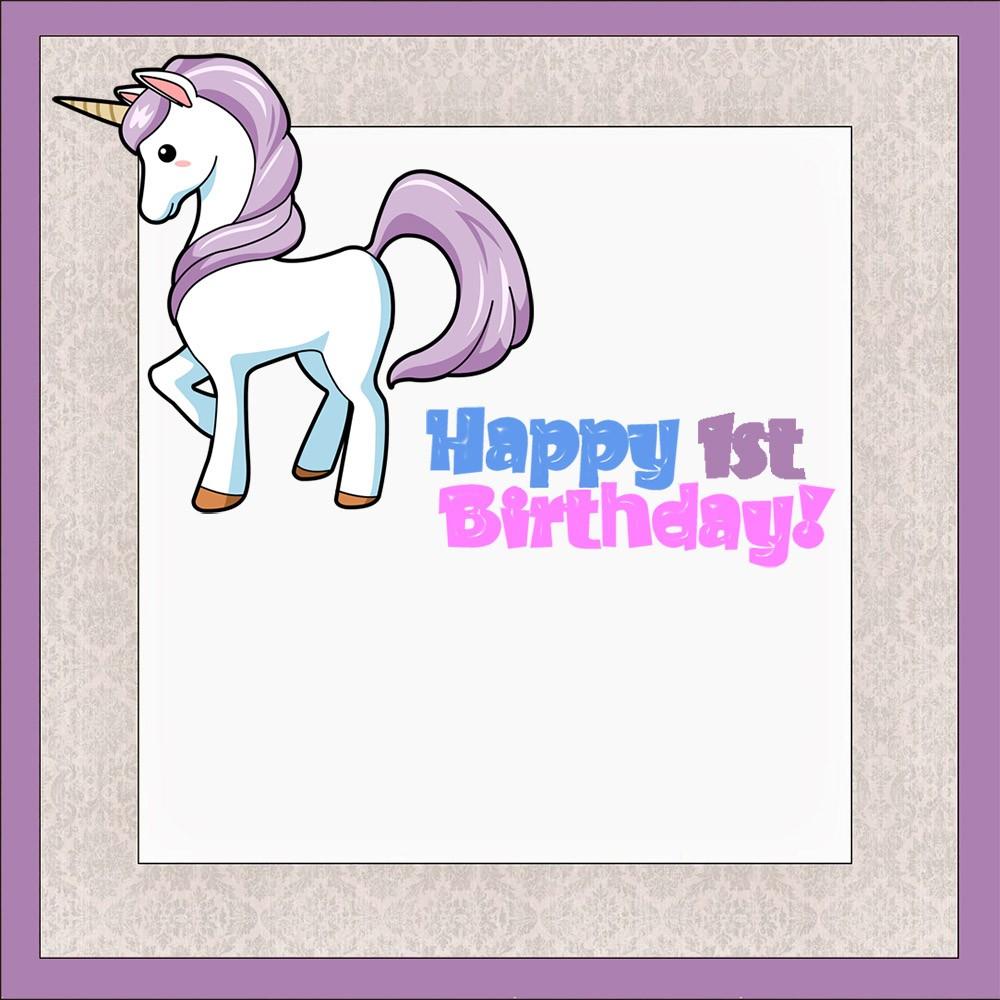 unicorn first birthday invitation