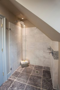 Slanted Ceiling Shower Design  Shelly Lighting