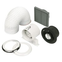 In-line low voltage extract fan kit with integral Shower Light
