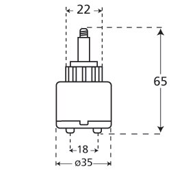 35mm replacement joystick mixer tap cartridge