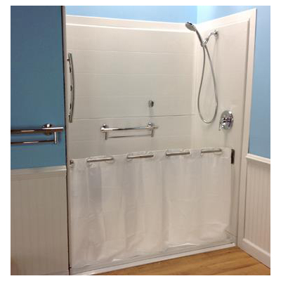 swing shower curtain rod for wheelchair usage