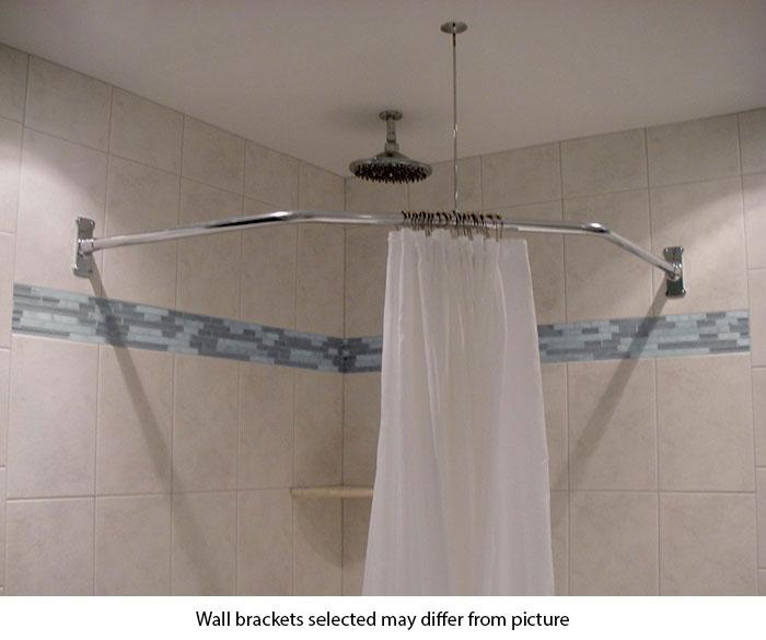 30 x 24 x 30 neo angle shower rod heavy duty flange
