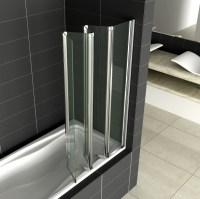 4/5 Fold Aica Chrome Folding Bath Shower Screen 6mm Glass ...