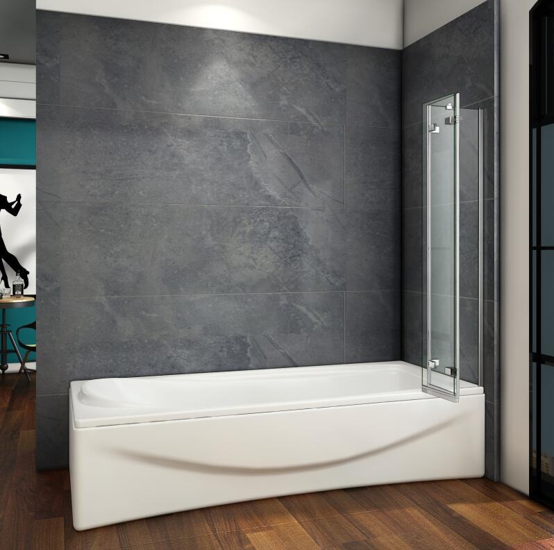 Luxury 1000x1400mm 3 Fold Folding Bath Shower Screen Modern Hinge Glass Panel  eBay