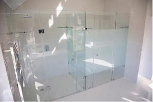 Frameless glass shower enclosure with frosted toilet door