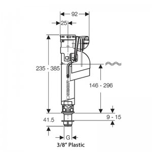 Geberit Type 360 filling valve bottom connection (3/8