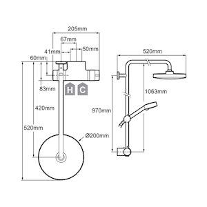 Mira Agile ERD Thermostatic bar mixer shower with Diverter