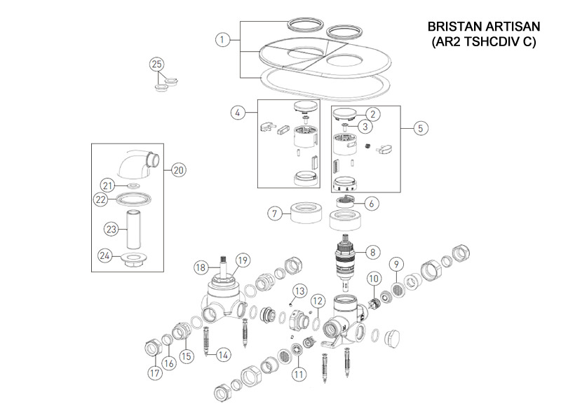 Bristan Artisan Recessed with Diverter shower spares and