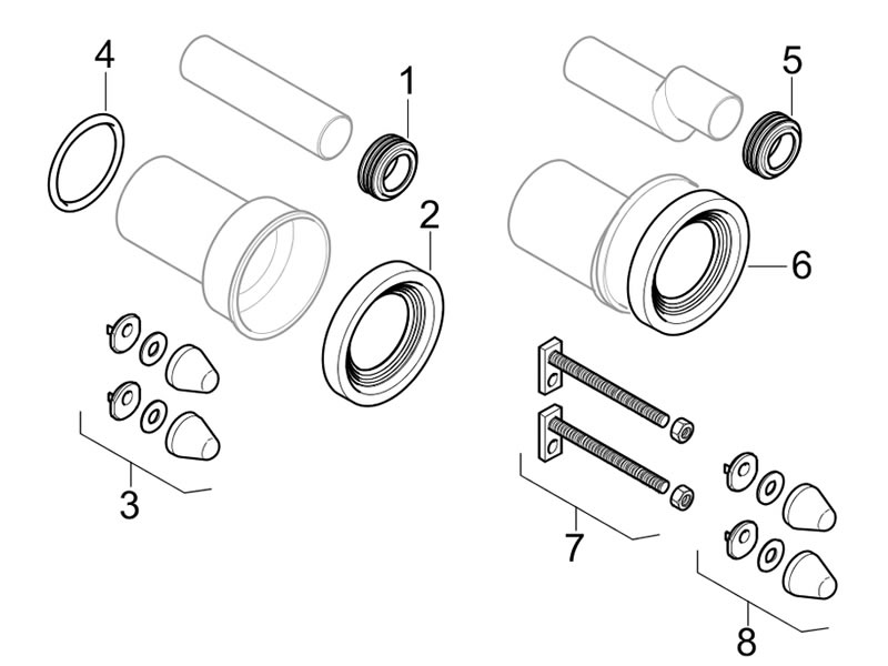 Toilet spares for Geberit inlet and outlet pipes