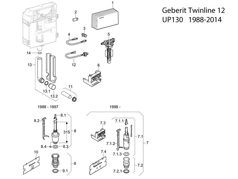 Geberit Twinline concealed cistern 12 cm (UP130, 110.800