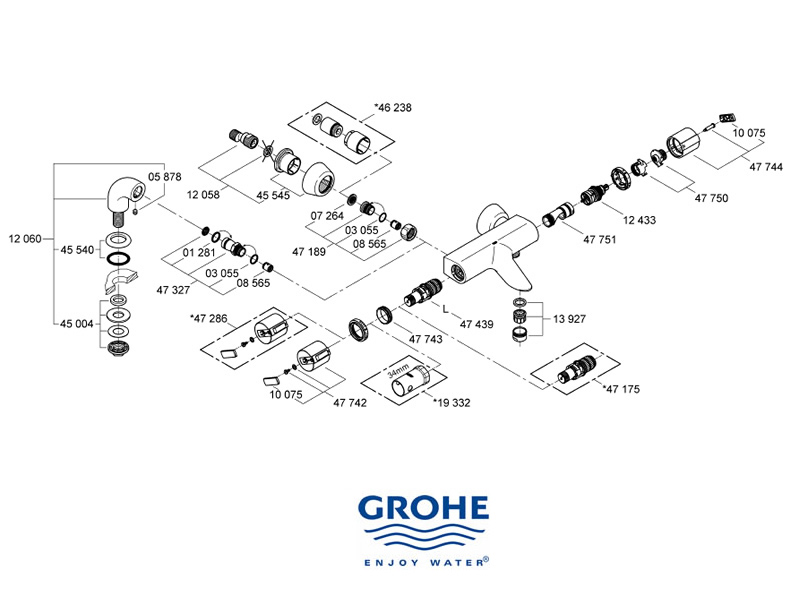 Grohe Grohtherm Auto 2000 bar mixer shower shower spares