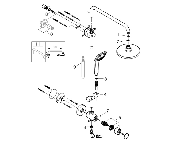 Grohe Retro-fit 180 shower system with diverter for wall