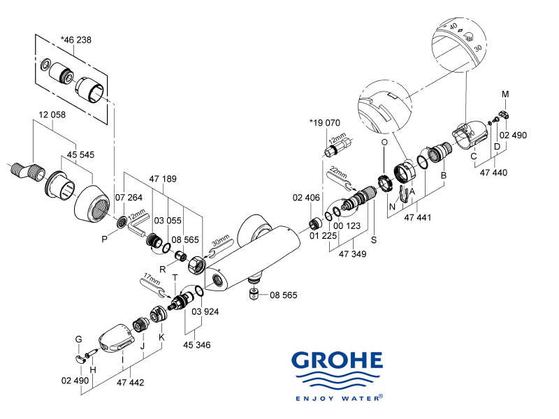 Grohe Grohtherm Auto 3000 bar mixer shower shower spares
