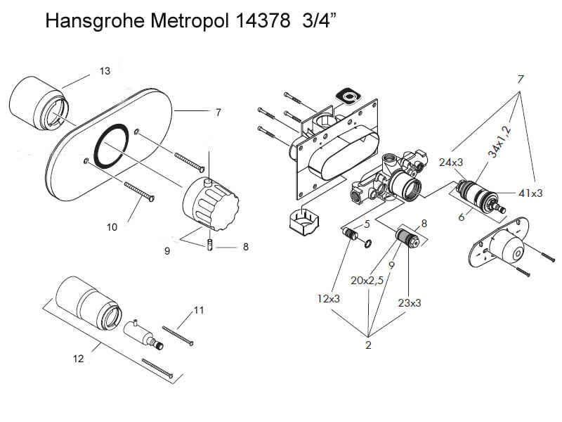 hansgrohe metropol 3 4 shower valve