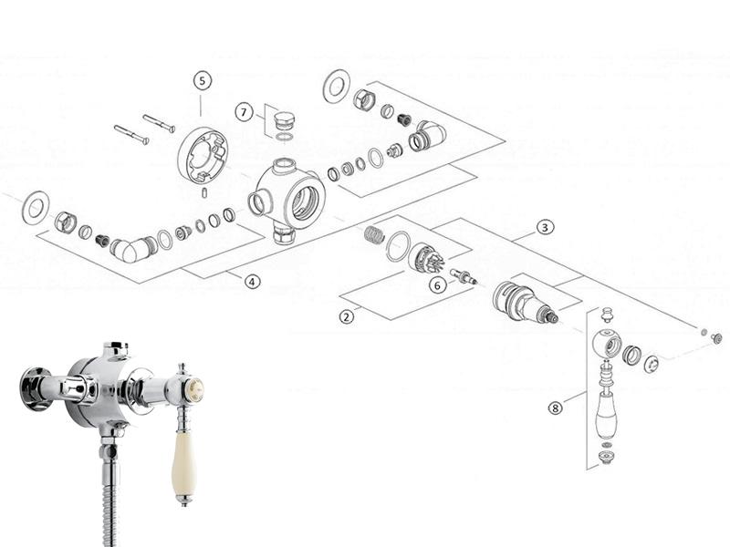 Heritage Glastonbury single control exposed valve shower