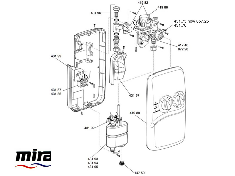 Shower spares for Mira Essentials Electric (1996-1998
