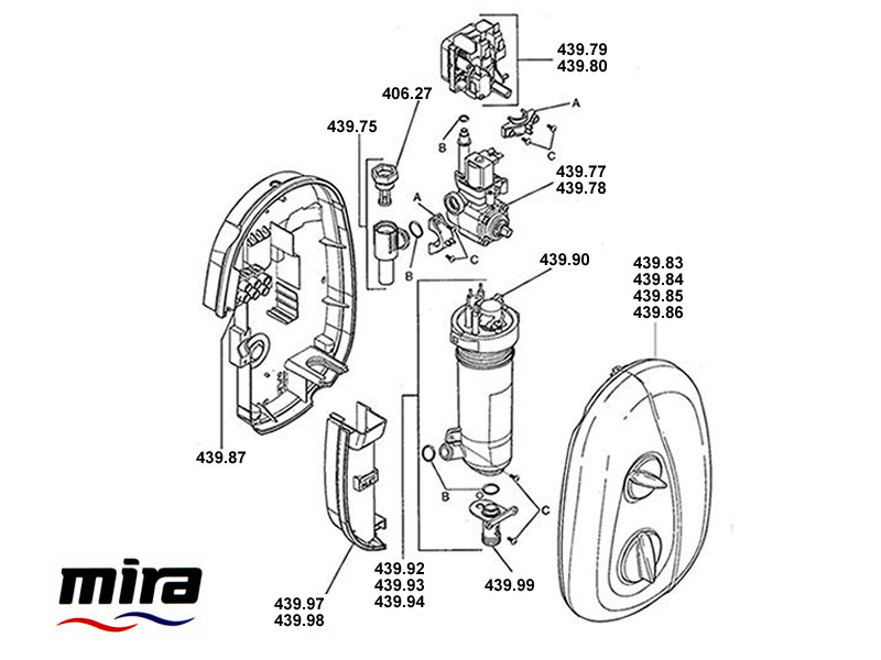 Shower spares for Mira Essentials Electric (2004-2007