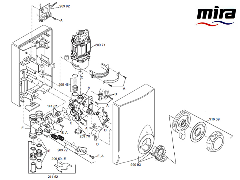 Mira Event Manual (1996-2002) shower spares and parts