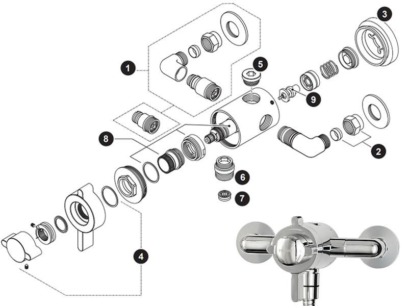 Triton Dove concentric exposed thermostatic mini mixer