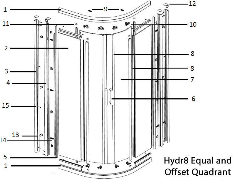 Twyford Hydr8 equal and offset Quadrant door spares shower