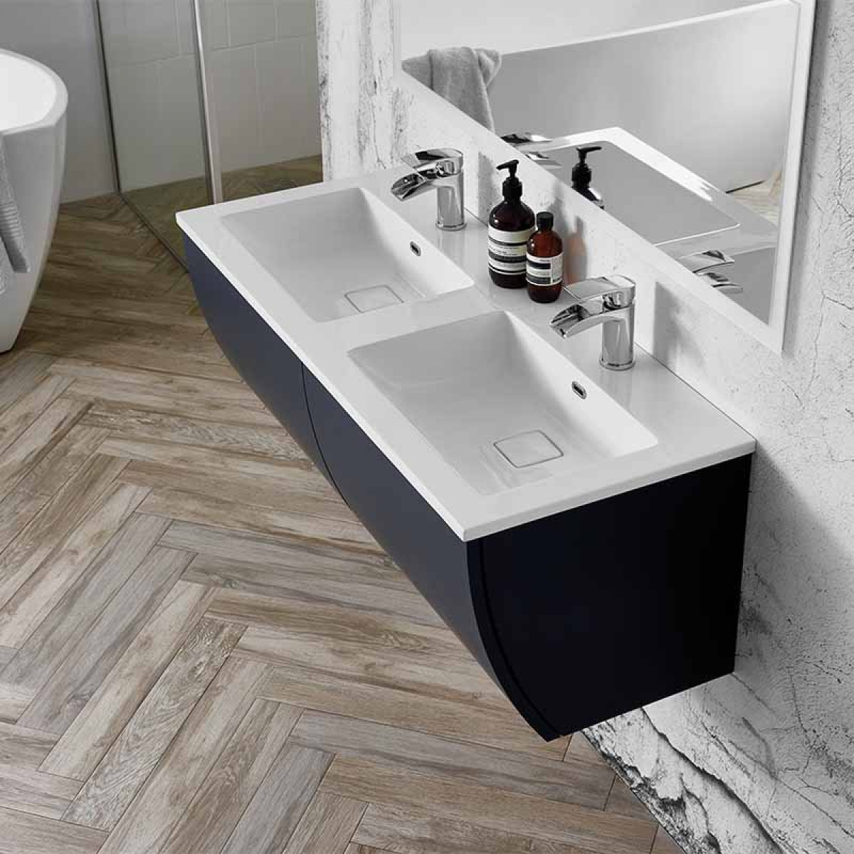 Elation Kiyo 1100mm Wall Hung Graphite Gloss Vanity Unit Double Basin