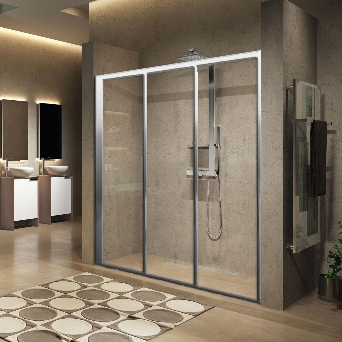 Novellini Lunes 2.0 3P Three Sliding Panel Shower Door