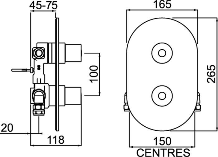 Bristan Artisan Recessed Thermostatic Dual Control Shower