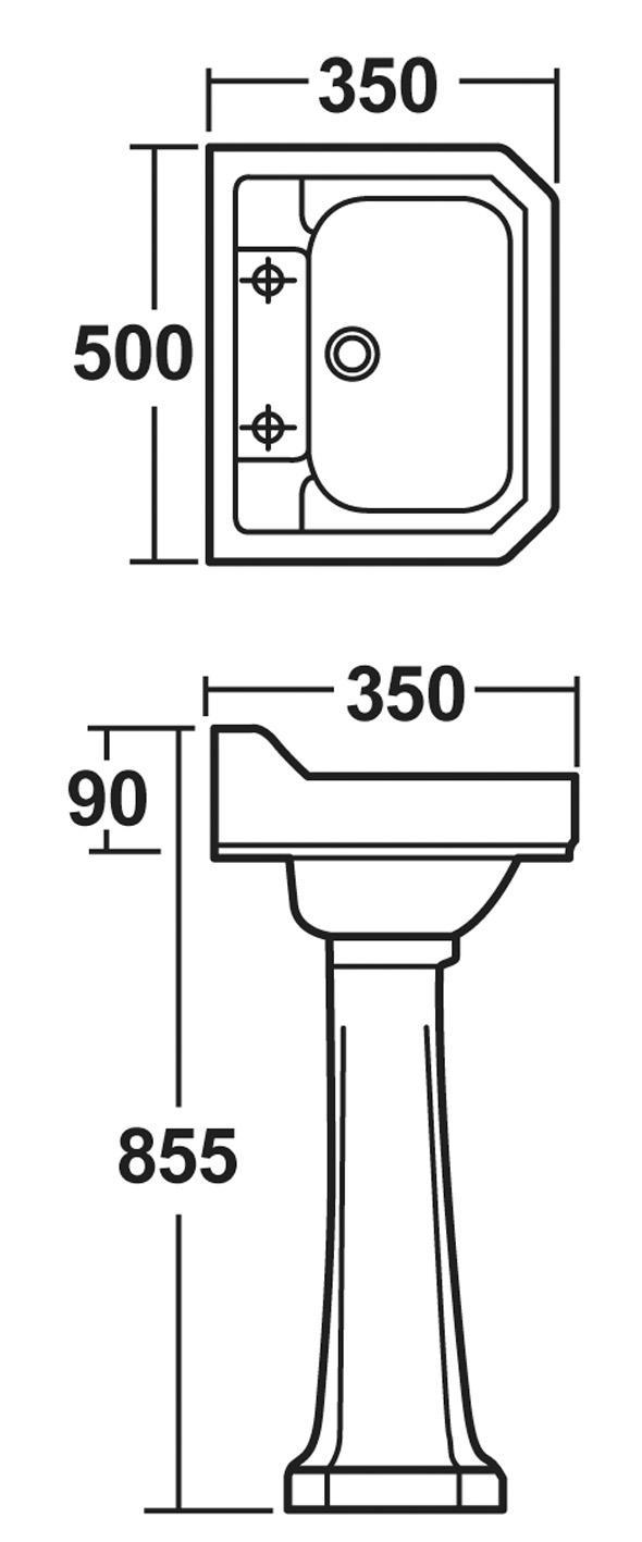 Premier Carlton 500mm Basin & Pedestal (2 Tap Hole)   NCS885-NCS883