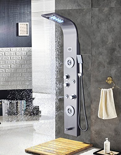 ELLOu0026ALLO Stainless Steel Shower Panel Tower System,LED Rainfall Waterfall  Shower Head 6 Function