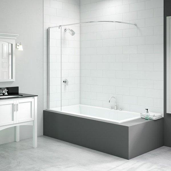 merlyn vivid bath screen with curtain rail 300mm x 1500mm dibs0022