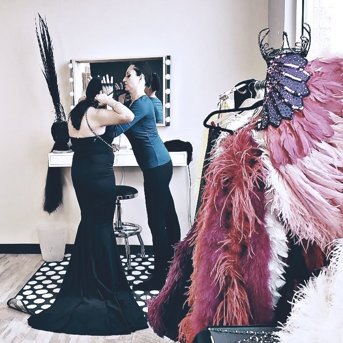 Showgirls Life   Feathery Revelry Showgirl experience Dress up is for grown ups