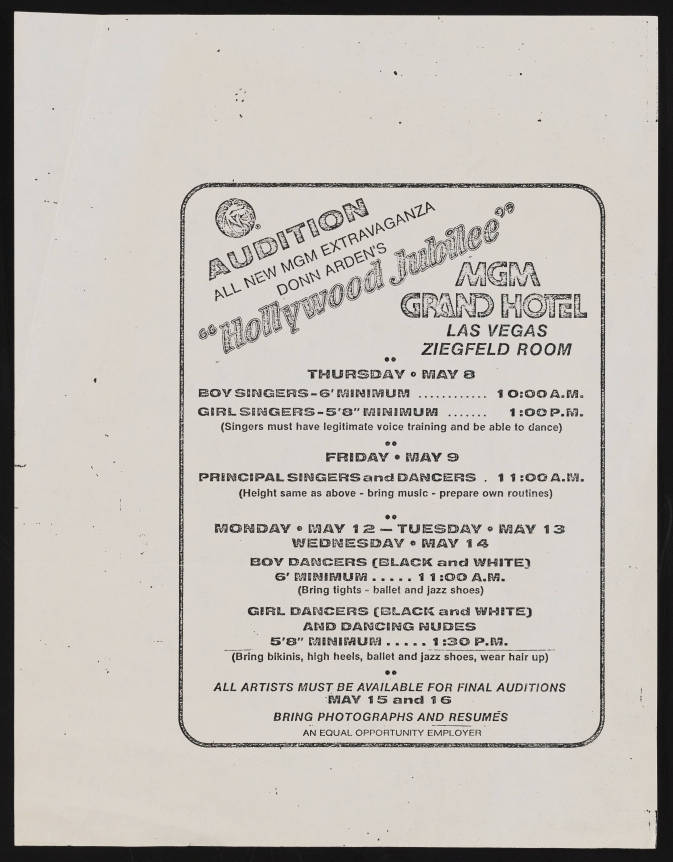 Jubilee! audition notice 1980