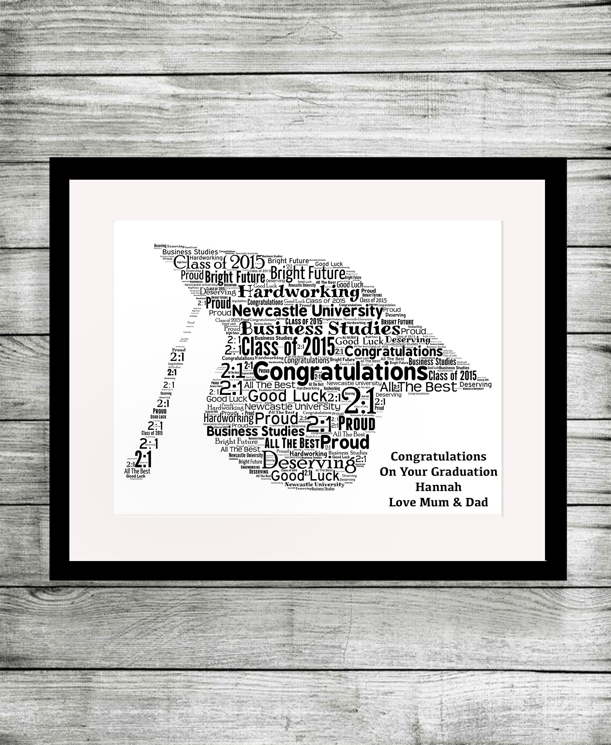 Bespoke Personalised Graduation Word Art Print Gift
